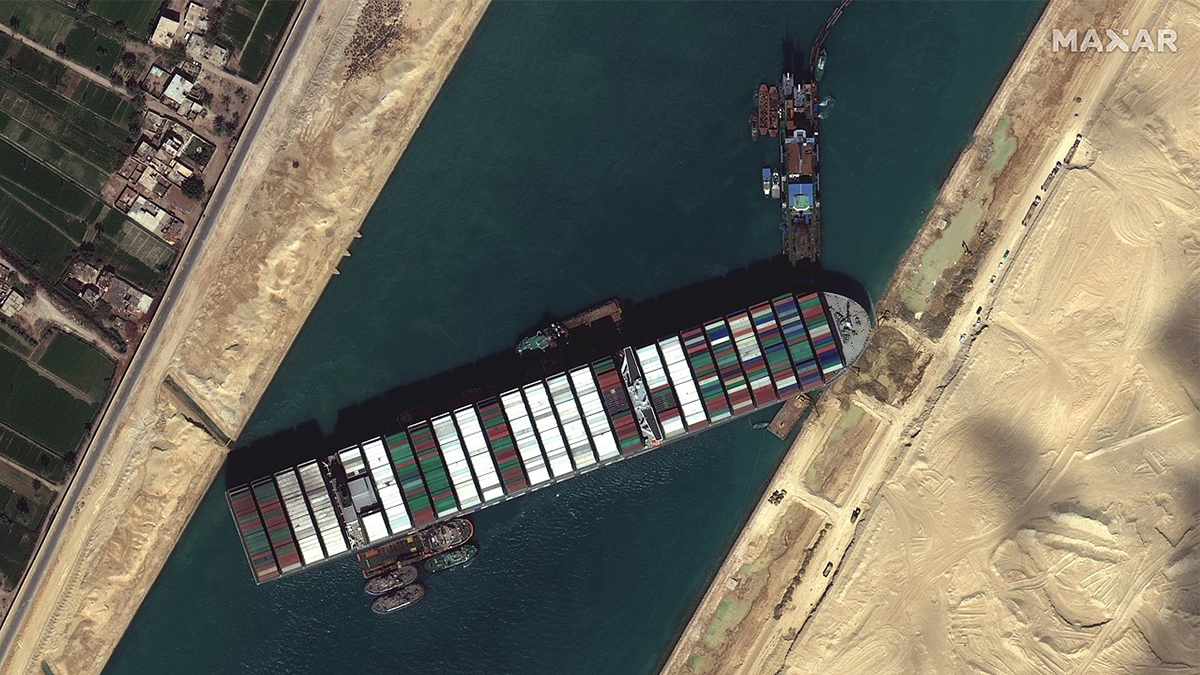 Satellite imagery of the container ship Ever Given stuck in the Suez Canal (Image courtesy of Maxar Technologies)