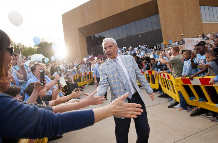 Roy Williams greeting fans outside the Dean Smith Center.