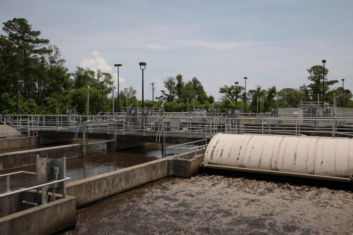 Facilities like the Beaufort Wastewater Treatment Plant are the sources of wastewater samples used by UNC microbiologist Rachel Noble to track novel coronavirus outbreaks across North Carolina, gaining insight that testing individuals does not offer. (Megan May/UNC Research)