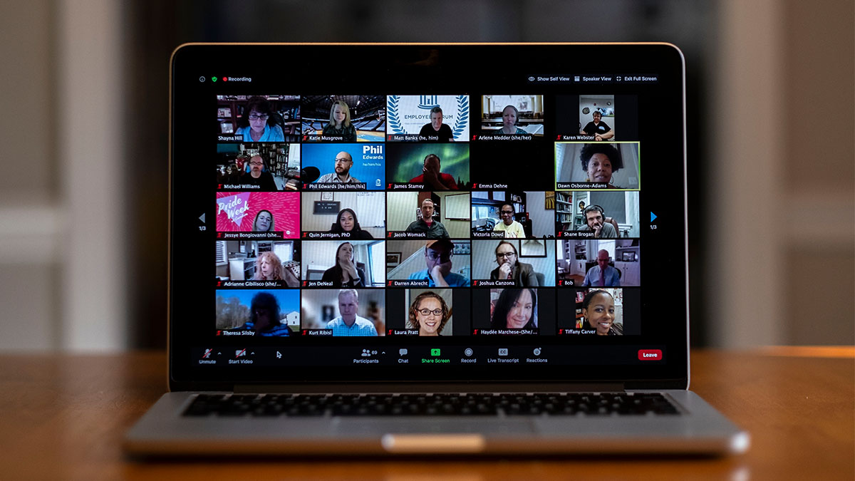 Zoom screen with people