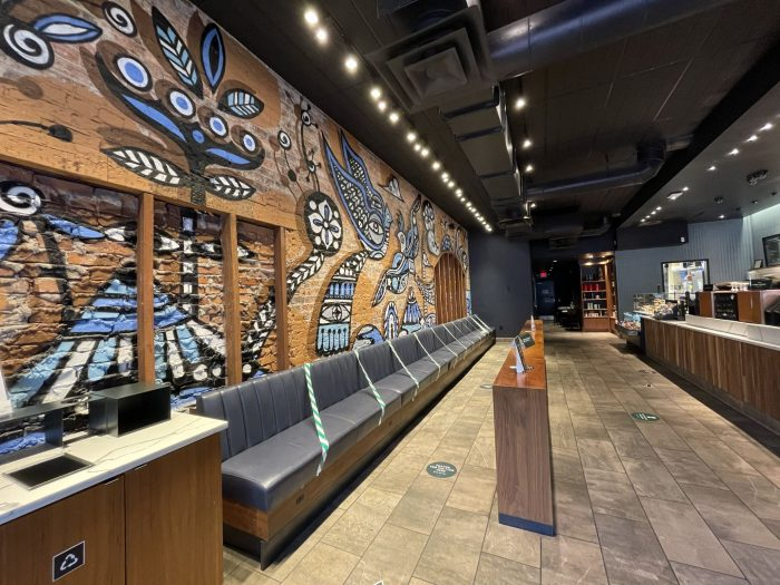 Interior shot of Starbucks.