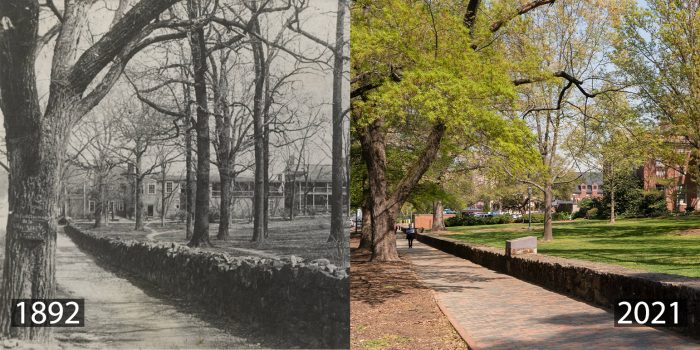 The Carolina Inn wasn't opened until 1924, but overnight visitors who came to campus before then still had a place to stay. The Eagle Hotel sat on the northeastern corner of McCorkle Place where Graham Memorial is today, and served as a boarding house for both students and visitors from the mid-1800s until a fire destroyed it in 1921. Artifacts from the site have been discovered during archaeological digs over the years.