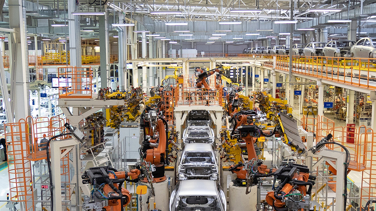 An automated car factory