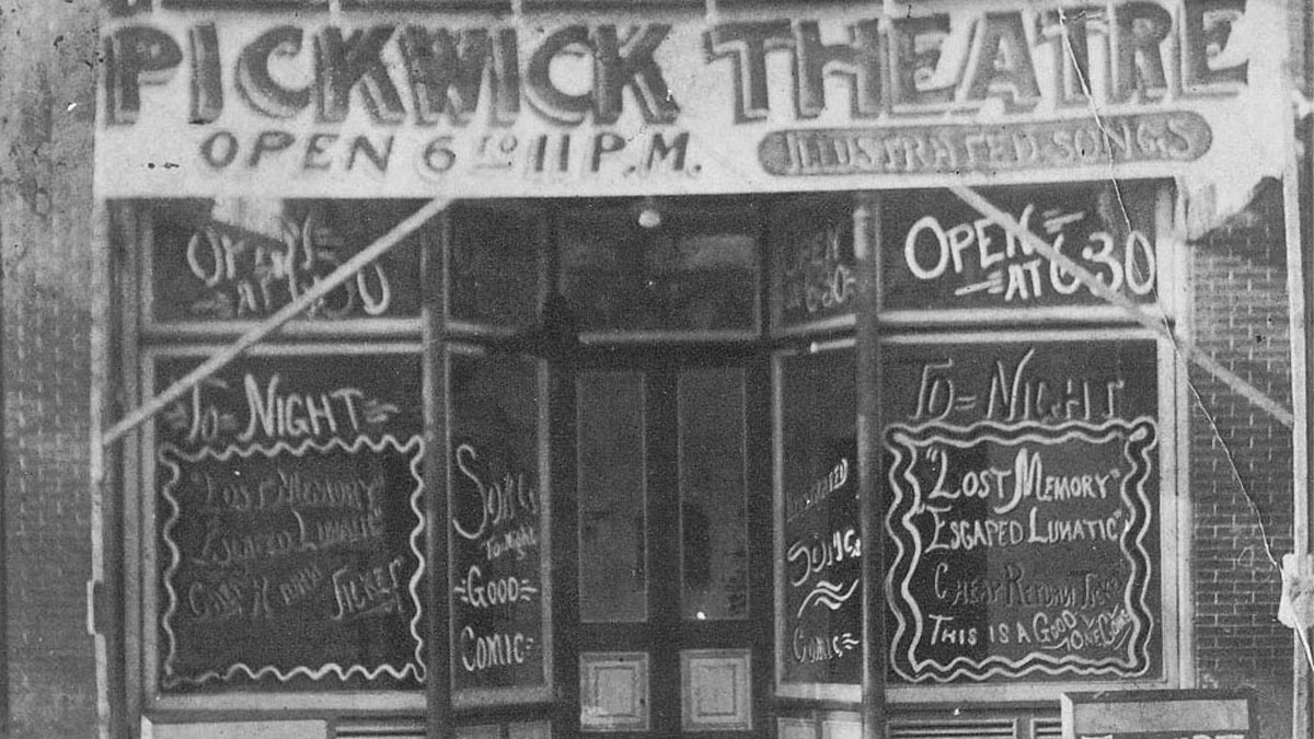 Historic picture of the Pickwick Theater.