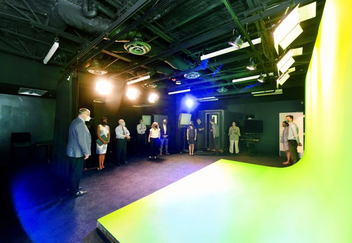 A studio with green screen and voice-over booth is among the new features in the space.
