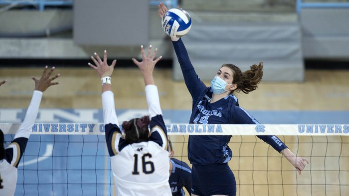 Kaya Merkler, shown here in a game against Notre Dame, and the rest of the Tar Heel volleyball team wore masks during competition.