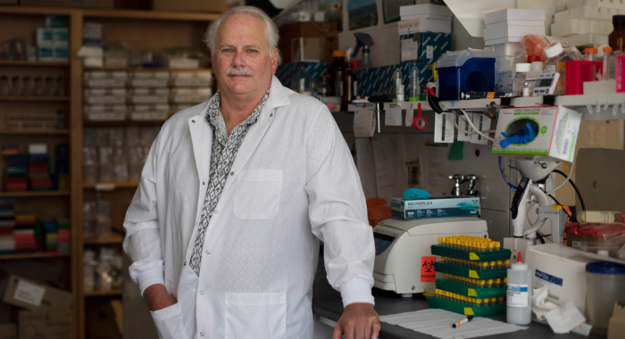 Epidemiologist Ralph Baric in the lab at the UNC Gilings School of Global Public Health. Archive photo by Megan May.