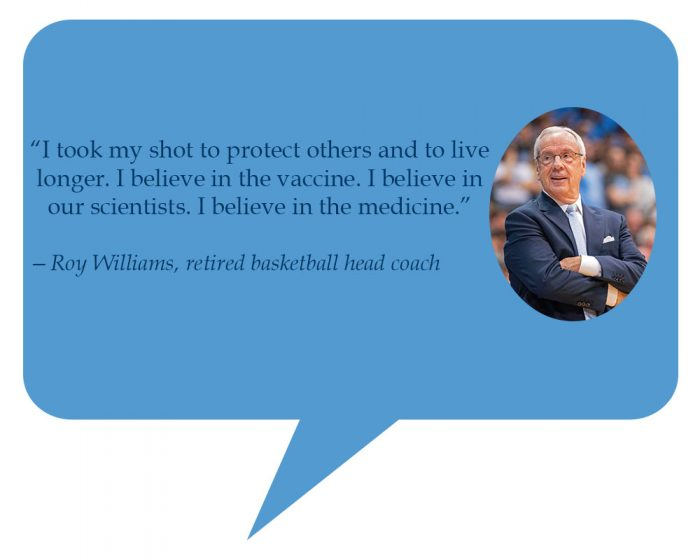 """""""I took my shot to protect others and to live longer. I believe in the vaccine. I believe in our scientists. I believe in the medicine. I took it to protect others and hopefully live longer."""""""