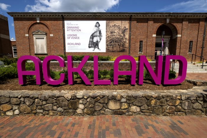 sign spelling Ackland in front of the museum