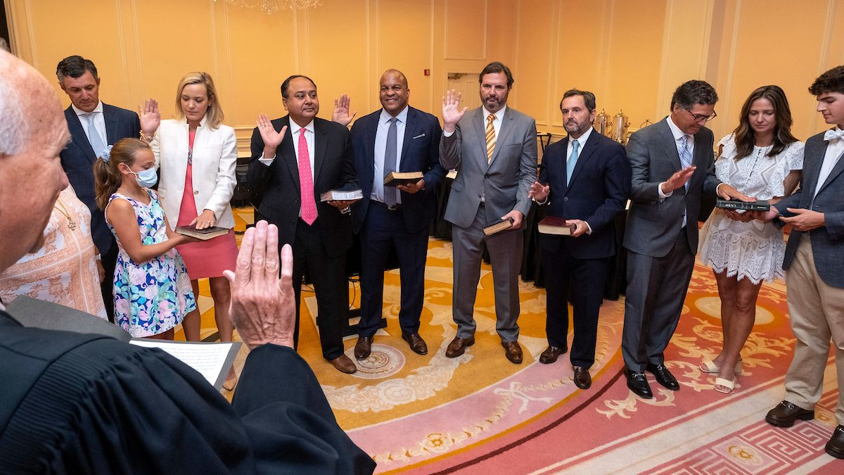 Six new members of the UNC Board of Trustees are sworn in by Chief Justice of the Supreme Court of North Carolina, Paul Newby, July 14, 2021 at the Carolina Inn. (Jon Gardiner/UNC-Chapel Hill)