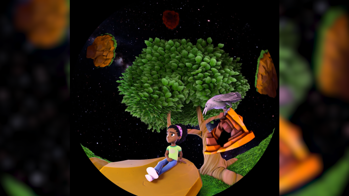 """Morehead Planetarium and Science Center's newest fulldome film, """"Mysteries of Your Brain"""" follows a young girl and her crow as they explore what makes the human brain unique. (Image courtesy of Morehead Planetarium and Science Center)"""