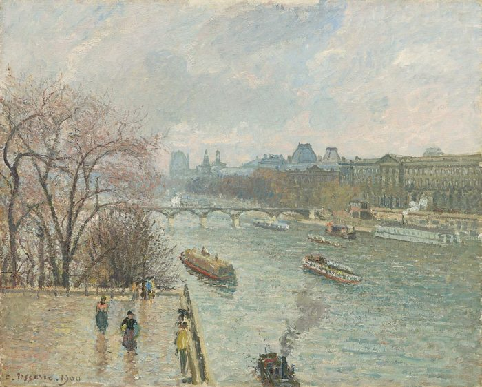 """""""The Louvre, Afternoon, Rainy Weather"""" by Camille Pissarro"""