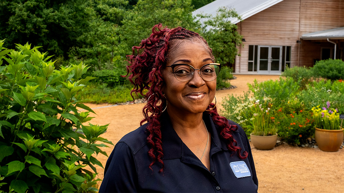 Teresa Golson was one of many Carolina housekeepers who kept public spaces clean and safe for others throughout the pandemic. The North Carolina Botanical Garden was one of few public spaces that allowed visitors for the last year and a half.