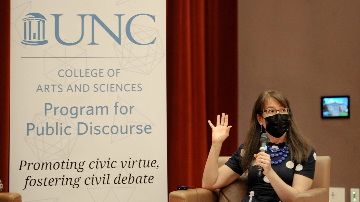 """Molly Worthen moderated """"Democracy and Public Discourse,"""" a 90-minute discussion hosted by the UNC Program for Public Discourse on Sept. 14."""