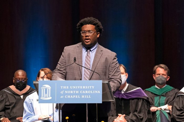 Student Body President Lamar Richards questioned the celebration of the foundingin his remarks.