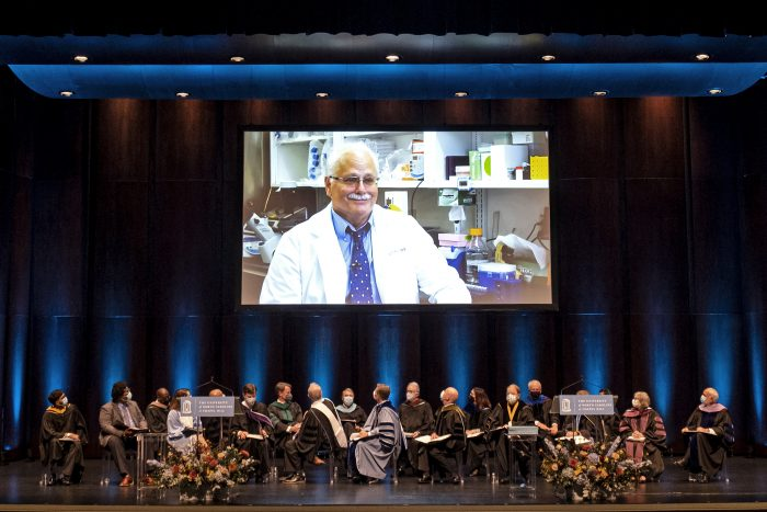 A short video introduced Ralph Baric, recipient of the UNC System's highest honor, the O. Max Gardner Award.