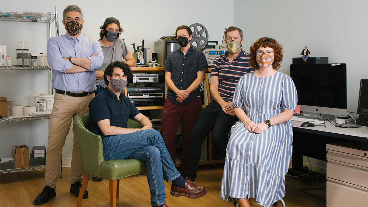 The librarians from the Southern Folklife Collection who preserved a collection of video and other materials recovered from the Highlander Research and Education Center. Back row, left to right: Steve Weiss, John Loy, Erica Titkemeyer and Bradshaw Lentz; front row, left to right: Dan Hockstein and Melanie Meents.